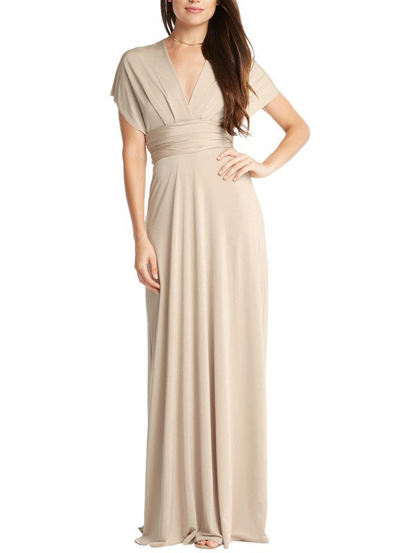 Infinity Multi-Way Convertible Tie Wrap Classic Ballgown Dress in Taupe - Bon Robe Bridesmaid