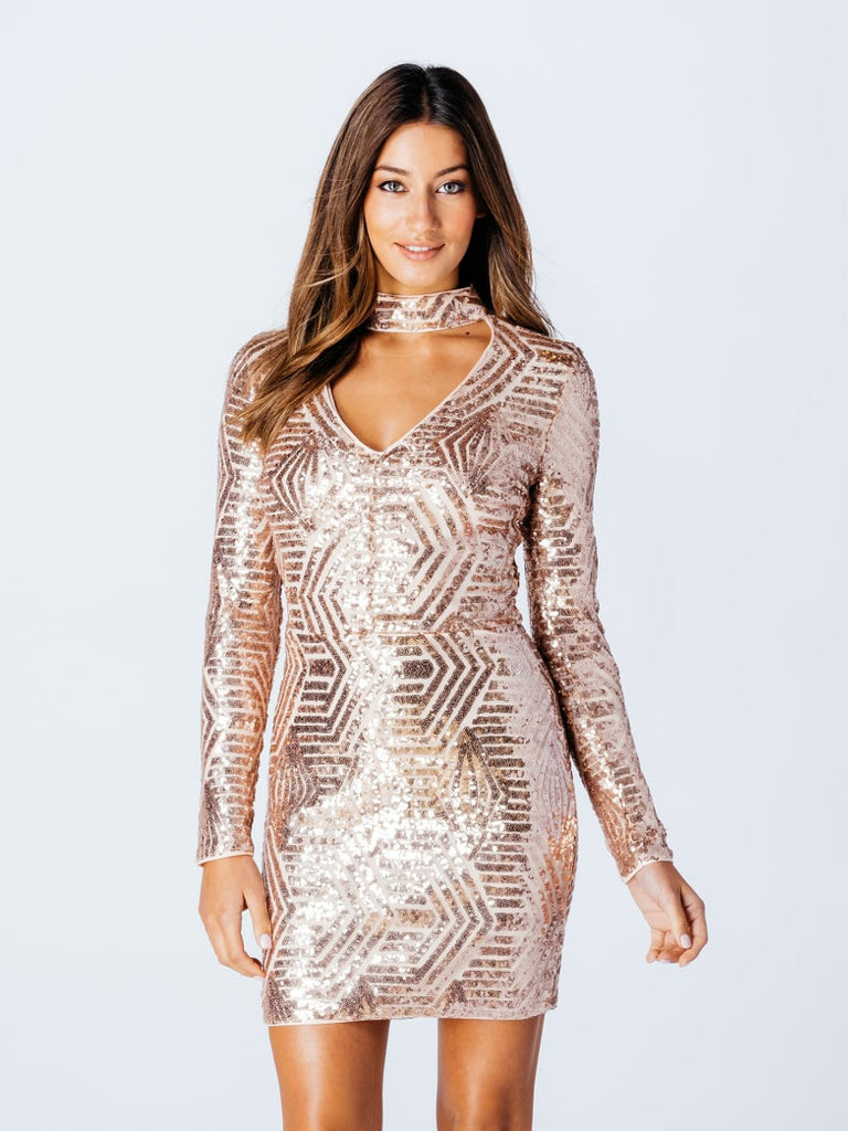 notorious delight sequin choker bodycon dress in nude gold bon robe. Black Bedroom Furniture Sets. Home Design Ideas