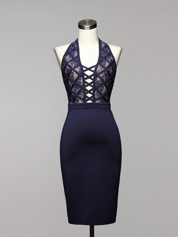 Play It Up Lace Crisscross Halter Bodycon Dress in Navy Blue - Bon Robe Dresses