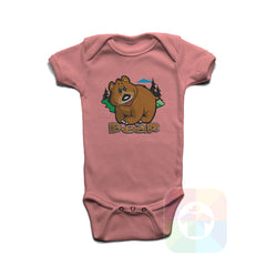 A PINK Baby Onesie with the  ' Baby onesie 'ANIMALS BEAR' kids funny novelty design. #8005 / New Born, 6m, 12m, 24m Sizes ' design.
