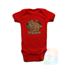 A RED Baby Onesie with the  ' Baby onesie 'ANIMALS BEAR' kids funny novelty design. #8005 / New Born, 6m, 12m, 24m Sizes ' design.