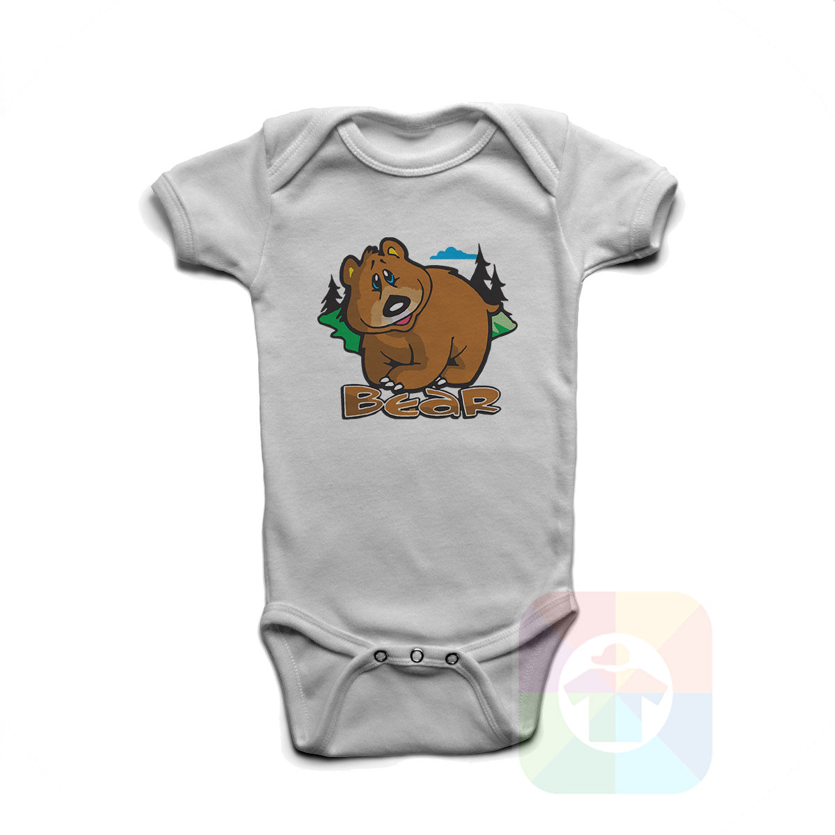 A WHITE Baby Onesie with the  ' Baby onesie 'ANIMALS BEAR' kids funny novelty design. #8005 / New Born, 6m, 12m, 24m Sizes ' design.
