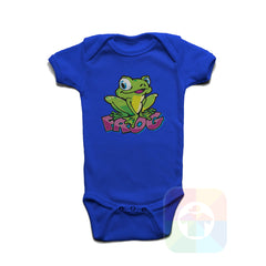 A ROYAL BLUE Baby Onesie with the  ' Baby onesie 'ANIMALS FROG' kids funny novelty design. #8011 / New Born, 6m, 12m, 24m Sizes ' design.