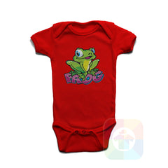 A RED Baby Onesie with the  ' Baby onesie 'ANIMALS FROG' kids funny novelty design. #8011 / New Born, 6m, 12m, 24m Sizes ' design.