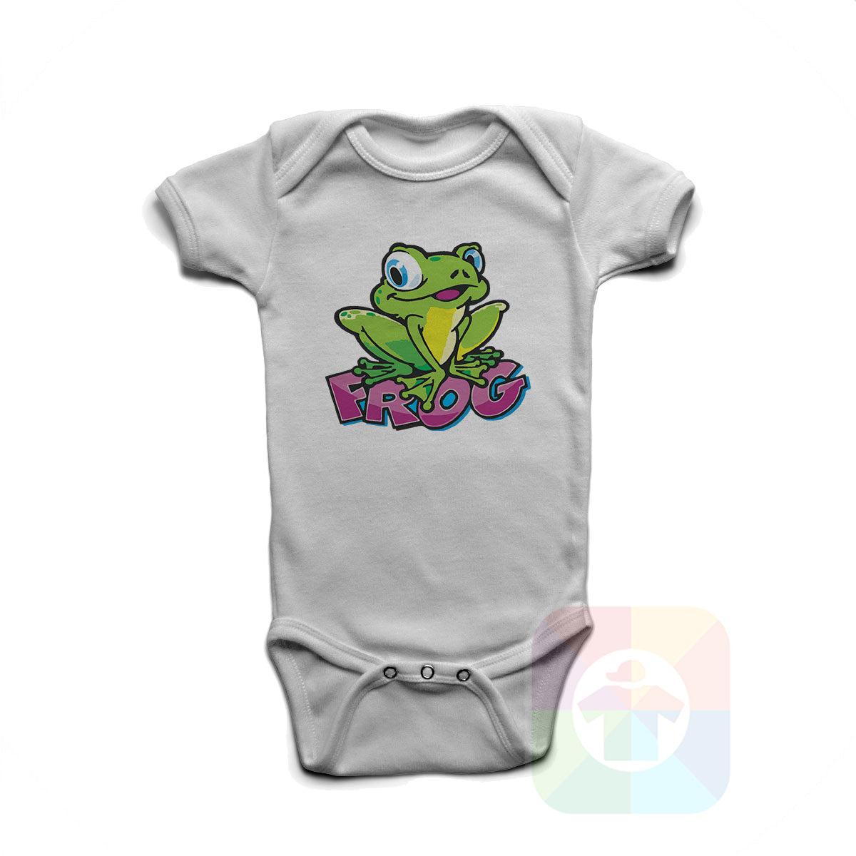 A WHITE Baby Onesie with the  ' Baby onesie 'ANIMALS FROG' kids funny novelty design. #8011 / New Born, 6m, 12m, 24m Sizes ' design.