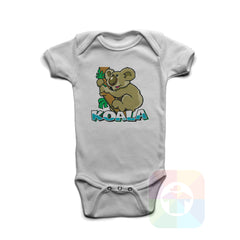 A WHITE Baby Onesie with the  ' Baby onesie 'ANIMALS KOALA' kids funny novelty design. #8014 / New Born, 6m, 12m, 24m Sizes ' design.