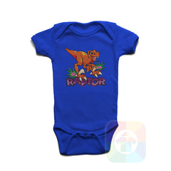 A ROYAL BLUE Baby Onesie with the  ' Baby onesie 'ANIMALS RAPTOR' kids funny novelty design. #8020 / New Born, 6m, 12m, 24m Sizes ' design.