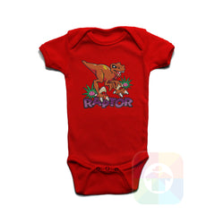 A RED Baby Onesie with the  ' Baby onesie 'ANIMALS RAPTOR' kids funny novelty design. #8020 / New Born, 6m, 12m, 24m Sizes ' design.