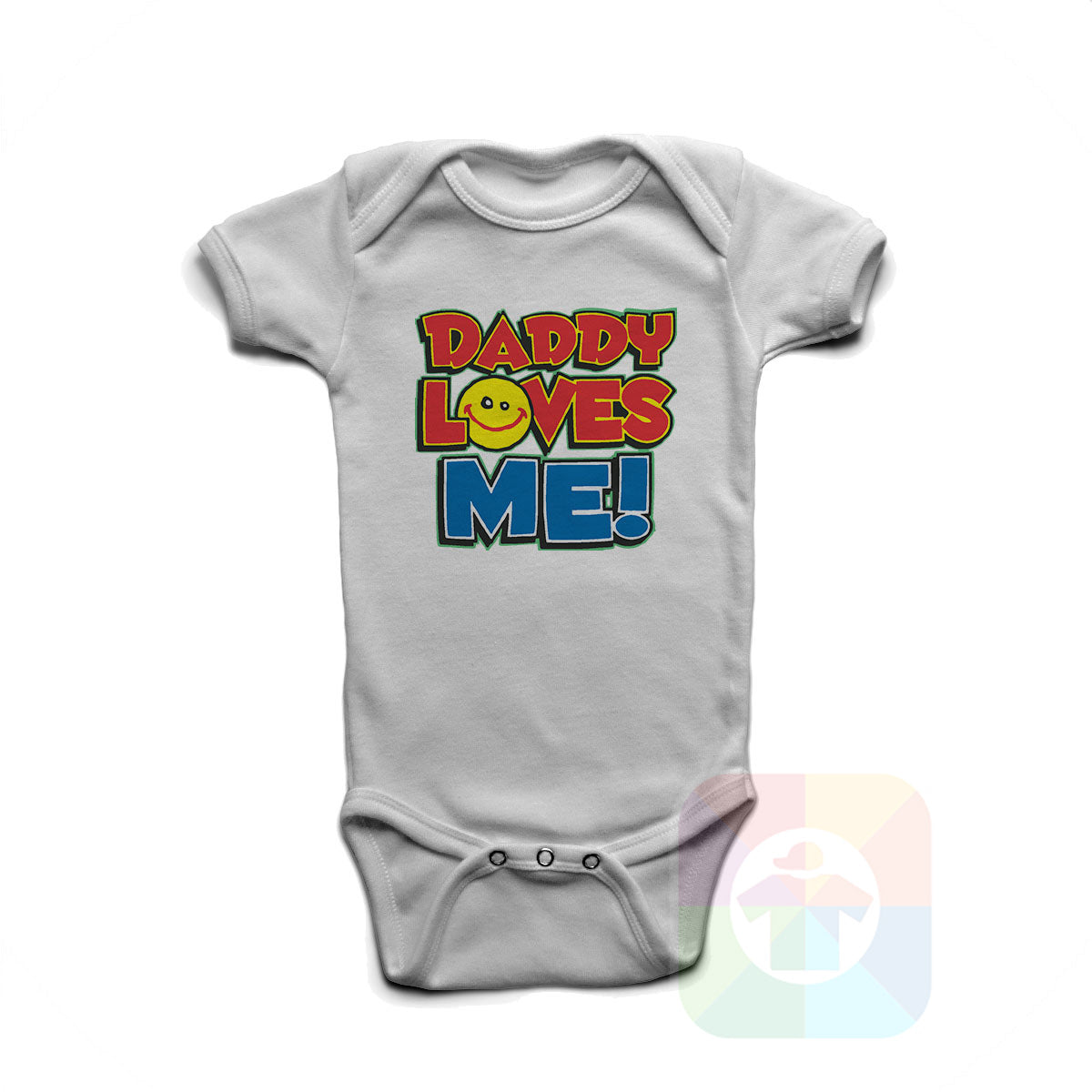 A WHITE Baby Onesie with the  ' Baby onesie 'DADDY LOVES ME' kids funny novelty design. #8061 / New Born, 6m, 12m, 24m Sizes ' design.