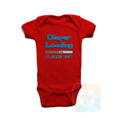 A RED Baby Onesie with the  ' Baby onesie 'DIAPER LOADING PLEASE WAIT' kids funny novelty design. #8073 / New Born, 6m, 12m, 24m Sizes ' design.