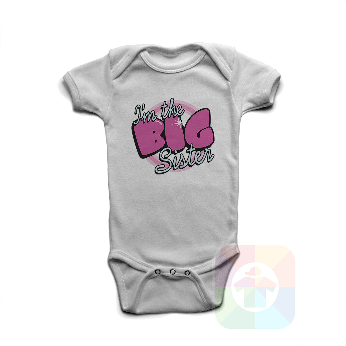 A WHITE Baby Onesie with the  ' Baby onesie 'I AM THE BIG SISTER' kids funny novelty design. #8133 / New Born, 6m, 12m, 24m Sizes ' design.