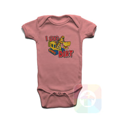 A PINK Baby Onesie with the  ' Baby onesie 'I DIG DIRT' kids funny novelty design. #8159 / New Born, 6m, 12m, 24m Sizes ' design.