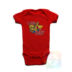 A RED Baby Onesie with the  ' Baby onesie 'I DIG DIRT' kids funny novelty design. #8159 / New Born, 6m, 12m, 24m Sizes ' design.