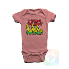 A PINK Baby Onesie with the  ' Baby onesie 'I DRIVE MY AUNT BANANAS' kids funny novelty design. #8163 / New Born, 6m, 12m, 24m Sizes ' design.