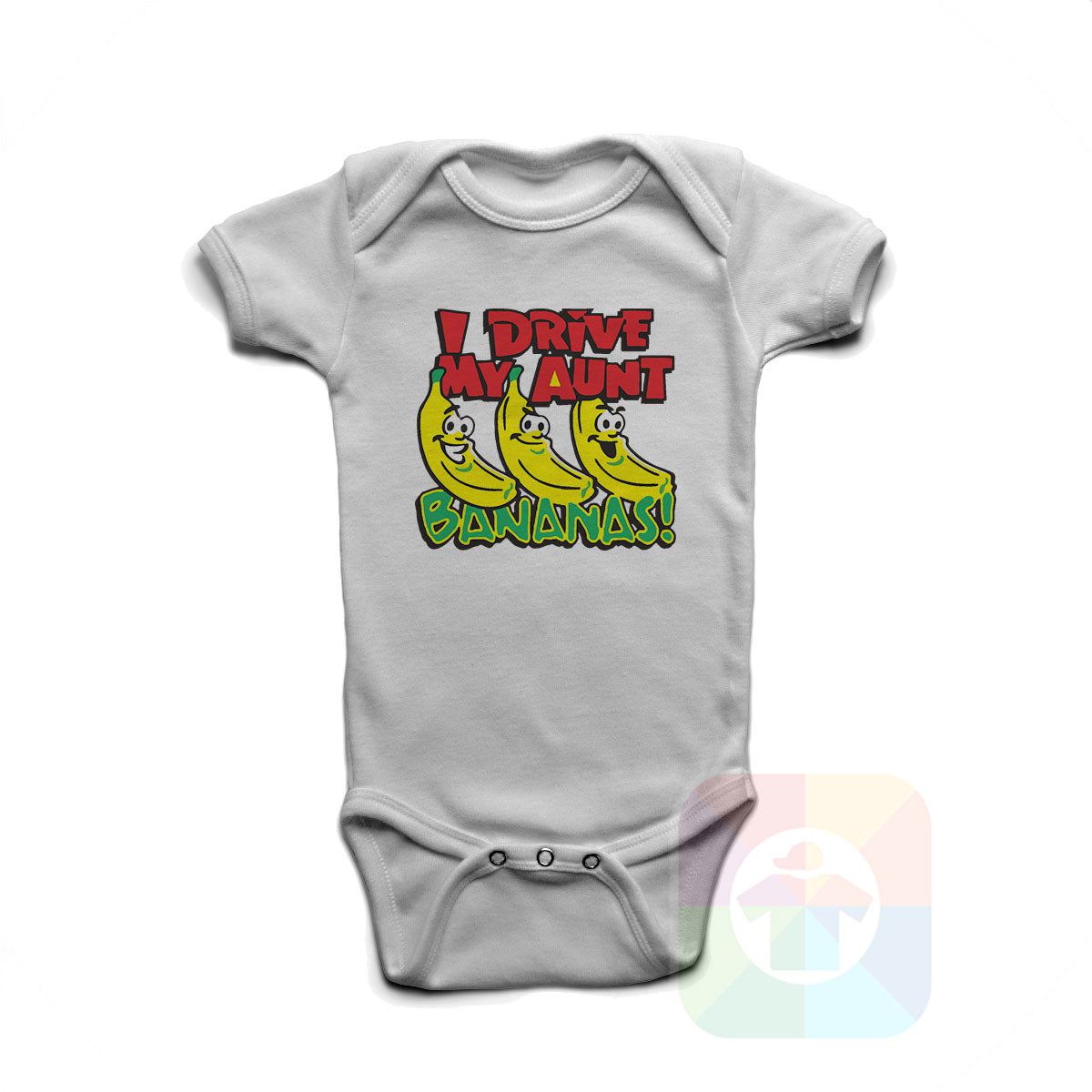 A WHITE Baby Onesie with the  ' Baby onesie 'I DRIVE MY AUNT BANANAS' kids funny novelty design. #8163 / New Born, 6m, 12m, 24m Sizes ' design.