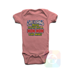 A PINK Baby Onesie with the  ' Baby onesie 'LIFE IS GOOD WHEN YOU VE GOT A MOWMOW LIKE MINE' kids funny novelty design. #8232 / New Born, 6m, 12m, 24m Sizes ' design.