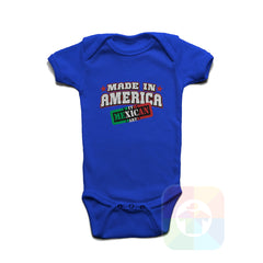 A ROYAL BLUE Baby Onesie with the  ' Baby onesie 'MADE IN AMERICA WITH MEXICAN PARTS' kids funny novelty design. #8246 / New Born, 6m, 12m, 24m Sizes ' design.