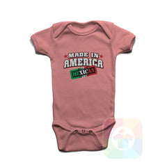 A PINK Baby Onesie with the  ' Baby onesie 'MADE IN AMERICA WITH MEXICAN PARTS' kids funny novelty design. #8246 / New Born, 6m, 12m, 24m Sizes ' design.