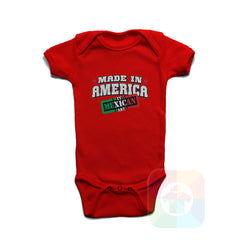 A RED Baby Onesie with the  ' Baby onesie 'MADE IN AMERICA WITH MEXICAN PARTS' kids funny novelty design. #8246 / New Born, 6m, 12m, 24m Sizes ' design.