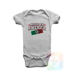 A WHITE Baby Onesie with the  ' Baby onesie 'MADE IN AMERICA WITH MEXICAN PARTS' kids funny novelty design. #8246 / New Born, 6m, 12m, 24m Sizes ' design.