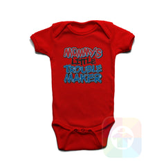 A RED Baby Onesie with the  ' Baby onesie 'MOMMYS LITTLE TROUBLE MAKER' kids funny novelty design. #8258 / New Born, 6m, 12m, 24m Sizes ' design.