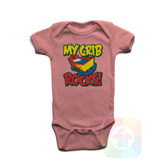 A PINK Baby Onesie with the  ' Baby onesie 'MY CRIB ROCKS' kids funny novelty design. #8264 / New Born, 6m, 12m, 24m Sizes ' design.
