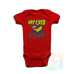 A RED Baby Onesie with the  ' Baby onesie 'MY CRIB ROCKS' kids funny novelty design. #8264 / New Born, 6m, 12m, 24m Sizes ' design.