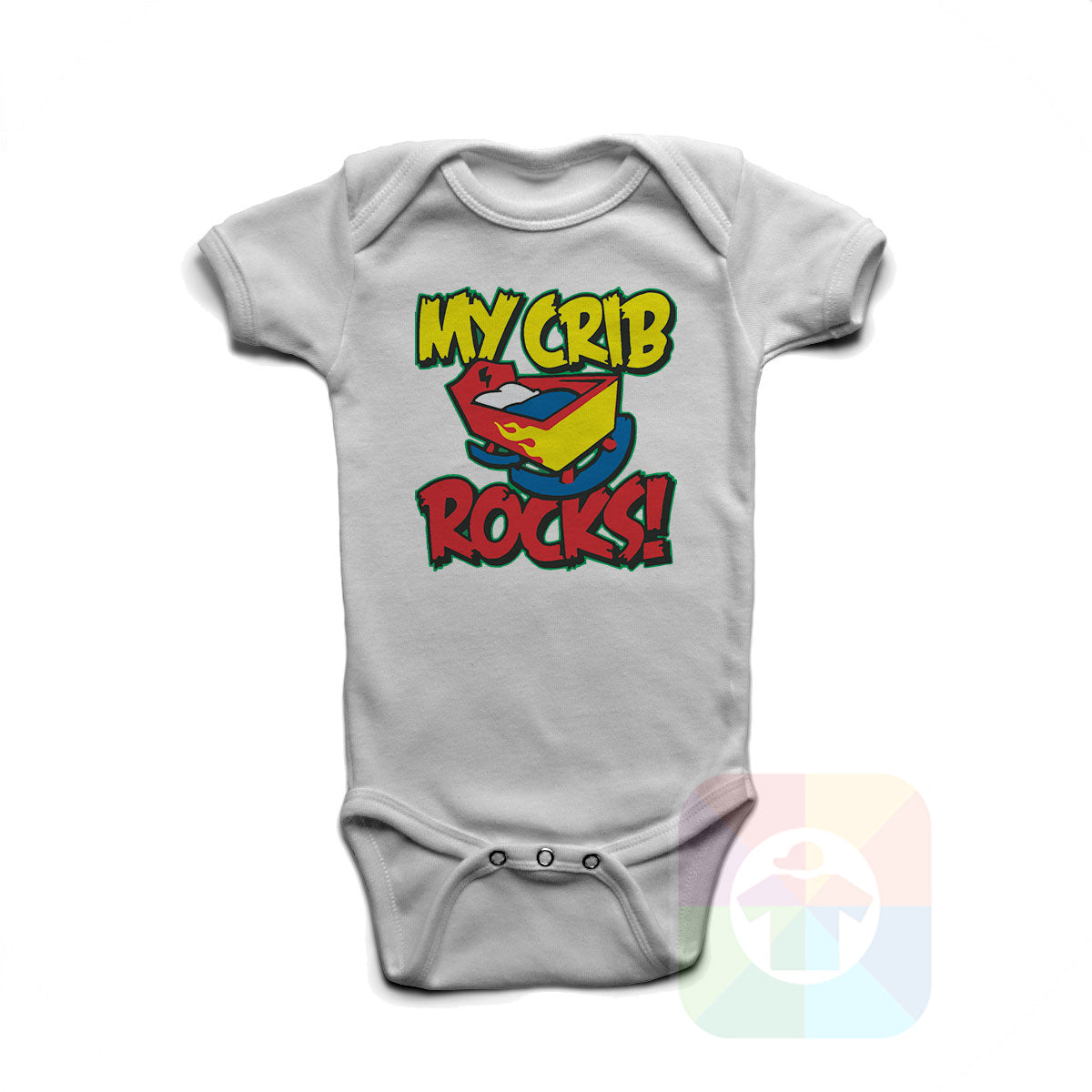 A WHITE Baby Onesie with the  ' Baby onesie 'MY CRIB ROCKS' kids funny novelty design. #8264 / New Born, 6m, 12m, 24m Sizes ' design.