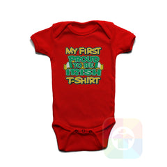 A RED Baby Onesie with the  ' Baby onesie 'MY FIRST PROUD TO BE IRISH TSHIRT' kids funny novelty design. #8271 / New Born, 6m, 12m, 24m Sizes ' design.