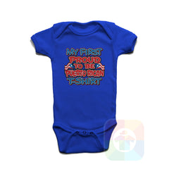 A ROYAL BLUE Baby Onesie with the  ' Baby onesie 'MY FIRST PROUD TO BE PUERTO RICAN TSHIRT' kids funny novelty design. #8275 / New Born, 6m, 12m, 24m Sizes ' design.