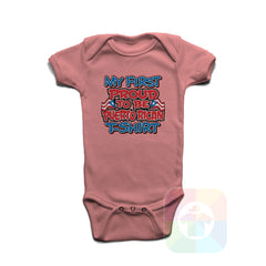 A PINK Baby Onesie with the  ' Baby onesie 'MY FIRST PROUD TO BE PUERTO RICAN TSHIRT' kids funny novelty design. #8275 / New Born, 6m, 12m, 24m Sizes ' design.