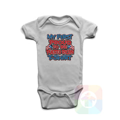 A WHITE Baby Onesie with the  ' Baby onesie 'MY FIRST PROUD TO BE PUERTO RICAN TSHIRT' kids funny novelty design. #8275 / New Born, 6m, 12m, 24m Sizes ' design.