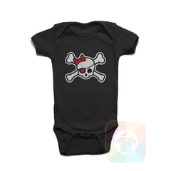 A BLACK Baby Onesie with the  ' Baby onesie 'PIRATE GIRL' kids funny novelty design. #8318 / New Born, 6m, 12m, 24m Sizes ' design.