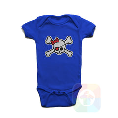 A ROYAL BLUE Baby Onesie with the  ' Baby onesie 'PIRATE GIRL' kids funny novelty design. #8318 / New Born, 6m, 12m, 24m Sizes ' design.