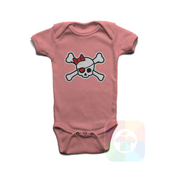 A PINK Baby Onesie with the  ' Baby onesie 'PIRATE GIRL' kids funny novelty design. #8318 / New Born, 6m, 12m, 24m Sizes ' design.