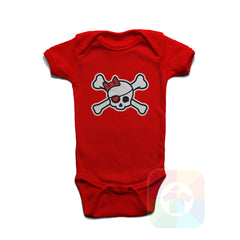 A RED Baby Onesie with the  ' Baby onesie 'PIRATE GIRL' kids funny novelty design. #8318 / New Born, 6m, 12m, 24m Sizes ' design.
