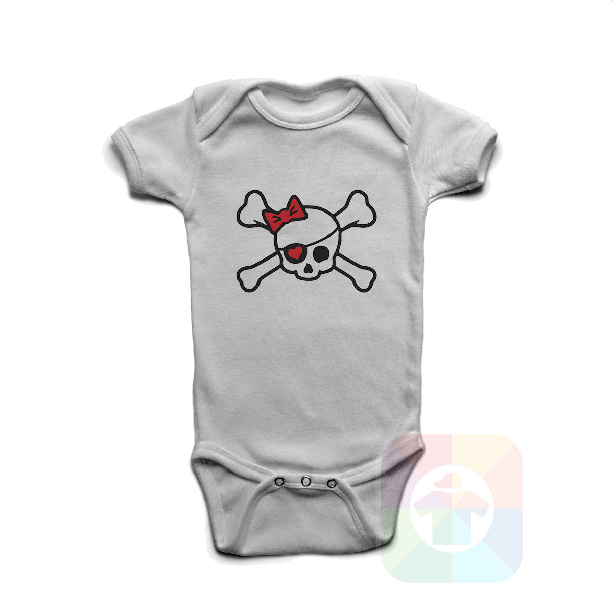 A WHITE Baby Onesie with the  ' Baby onesie 'PIRATE GIRL' kids funny novelty design. #8318 / New Born, 6m, 12m, 24m Sizes ' design.