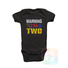 A BLACK Baby Onesie with the  ' Baby onesie 'WARNING I AM TWO' kids funny novelty design. #8360 / New Born, 6m, 12m, 24m Sizes ' design.