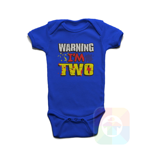 A WHITE Baby Onesie with the  ' Baby onesie 'WARNING I AM TWO' kids funny novelty design. #8360 / New Born, 6m, 12m, 24m Sizes ' design.