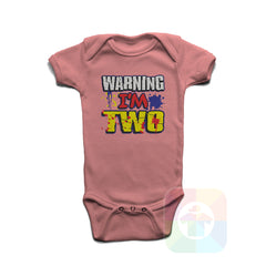A PINK Baby Onesie with the  ' Baby onesie 'WARNING I AM TWO' kids funny novelty design. #8360 / New Born, 6m, 12m, 24m Sizes ' design.