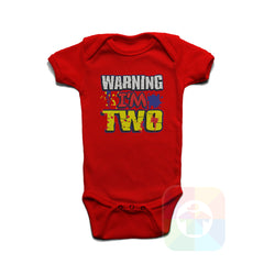 A RED Baby Onesie with the  ' Baby onesie 'WARNING I AM TWO' kids funny novelty design. #8360 / New Born, 6m, 12m, 24m Sizes ' design.