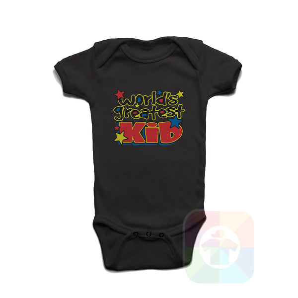 A WHITE Baby Onesie with the  ' Baby onesie 'WORLD GREATEST KID' kids funny novelty design. #8366 / New Born, 6m, 12m, 24m Sizes ' design.
