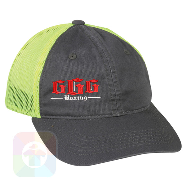 "A Charcoal / Neon Green Mesh Hat with the  ' OutdoorCap Unstructured Velcro Baseball Mesh Dad Hat with "" BOXING GGG "" design on it. #1493"