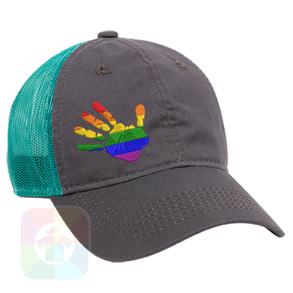 "A Charcoal / Neon Green Mesh Hat with the  ' OutdoorCap Unstructured Velcro Baseball Mesh Dad Hat with "" RAINBOW HAND "" design on it. #1854"