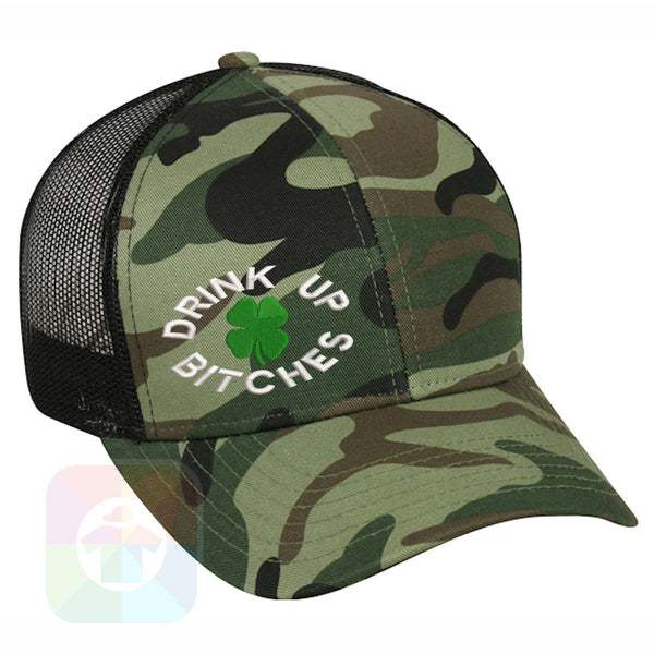 "A BLACK / WHITE MESH Hat with the  ' OutdoorCap Snapback Structured Baseball Mesh Hat with "" ST. PATRICS DAY DRINK UP BITCHES 4 LEAF CLOVER "" design on it. #2256"