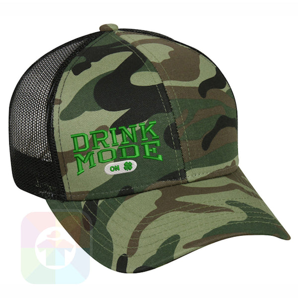 "A BLACK / WHITE MESH Hat with the  ' OutdoorCap Snapback Structured Baseball Mesh Hat with "" ST. PATRICS DAY DRINK MODE 4 LEAF CLOVER "" design on it. #2257"