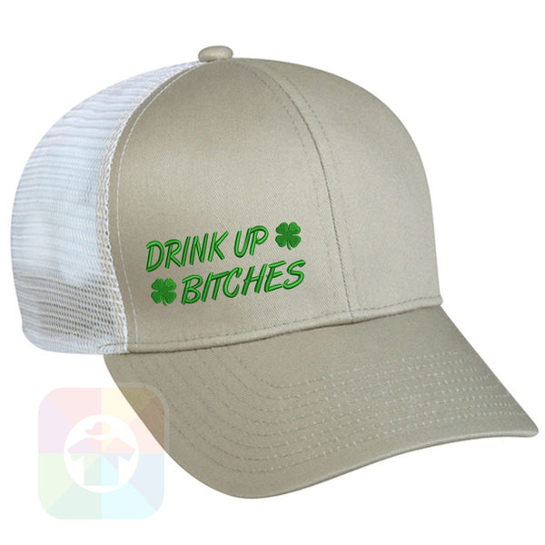 "A BLACK / WHITE MESH Hat with the  ' OutdoorCap Snapback Structured Baseball Mesh Hat with "" ST. PATRICS DAY DRINK UP BITCHES 4 LEAF CLOVER "" design on it. #2258"