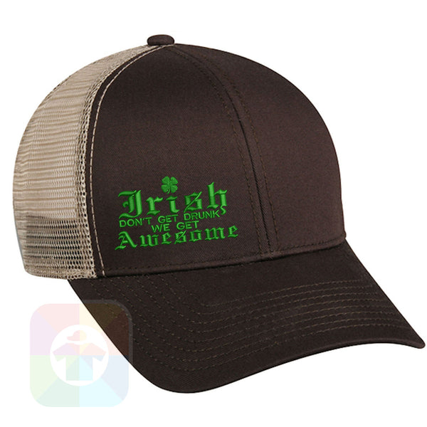 "A BLACK / WHITE MESH Hat with the  ' OutdoorCap Snapback Structured Baseball Mesh Hat with "" ST. PATRICS DAY IRISH AWESOME 4 LEAF CLOVER "" design on it. #2259"
