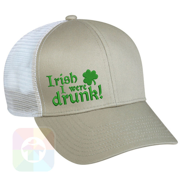 "A BLACK / WHITE MESH Hat with the  ' OutdoorCap Snapback Structured Baseball Mesh Hat with "" ST. PATRICS DAY IRISH DRUNK 4 LEAF CLOVER "" design on it. #2260"