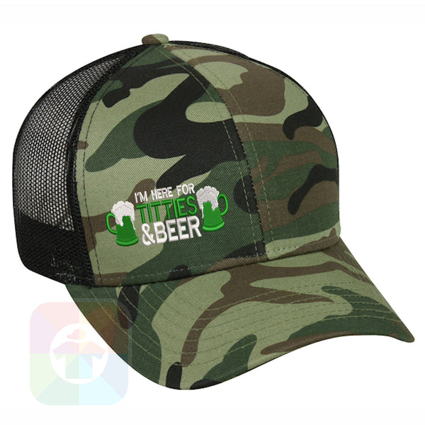 "A BLACK / WHITE MESH Hat with the  ' OutdoorCap Snapback Structured Baseball Mesh Hat with "" ST. PATRICS DAY IRISH BEER 4 LEAF CLOVER "" design on it. #2261"